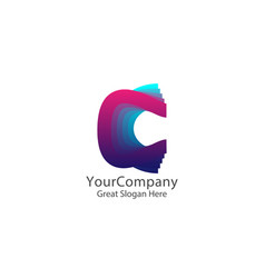 letter c logo creative colorful symbol concept vector image