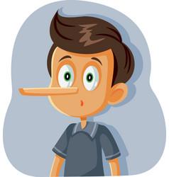 Liar boy with long nose cartoon vector