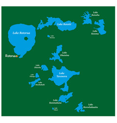 Map lakes in rotorua lakes district new zealand vector