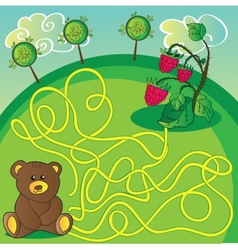 Maze game or activity page Help the bear to vector