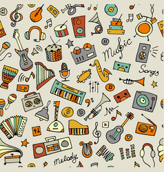 music instruments sketch seamless pattern for vector image
