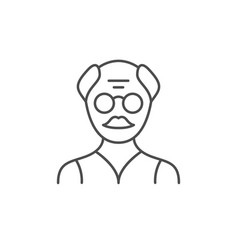 old man line outline icon vector image