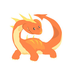 Orange dragon mythical and fantastic animal vector