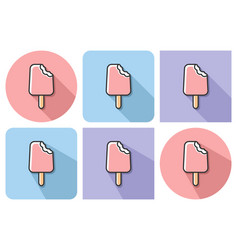 outlined icon of bitten ice cream with parallel vector image