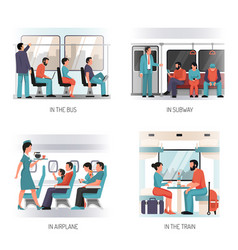 People transport flat concept vector