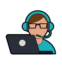 Person with headset and laptop ecommerce or vector