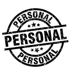 Personal round grunge black stamp vector