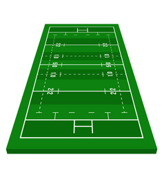 perspective green rugby field view from front vector image