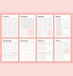 planner weekly and days organizers for schedule vector image
