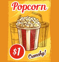 Popcorn menu sketch cinema cafe poster vector