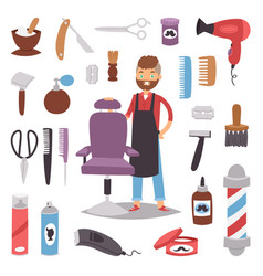 professional barber man character making haircut vector image