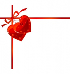 red ribbon and hearts vector image