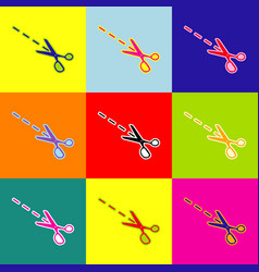 scissors sign pop-art style vector image