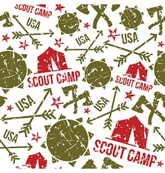 Scout camp seamless patterns vector