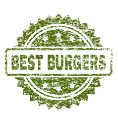 Scratched textured best burgers stamp seal vector