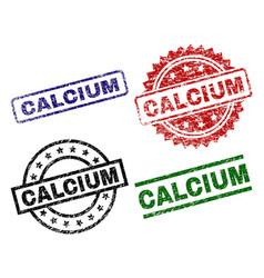 Scratched textured calcium stamp seals vector