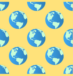 seamless pattern globe earth on yellow vector image