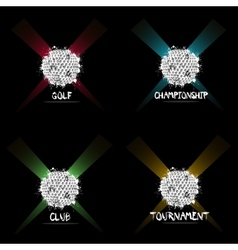 Set abstract golf balls of ink blots vector