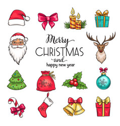 set christmas hand drawn icons vector image