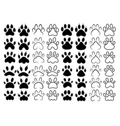 set footprints pets collection paws dogs vector image
