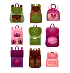 Set modern fashionable backpacks for young vector