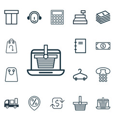 Set of 16 e-commerce icons includes callcentre vector