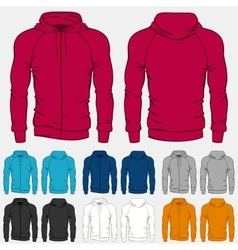 Set of colored hoodies templates for men vector