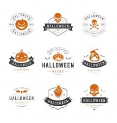 Set vintage happy halloween badges and labels vector