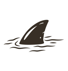 Shark fin in water with waves vector