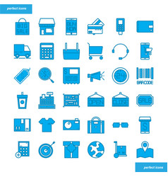 shopping and ecommerce blue icons set style vector image