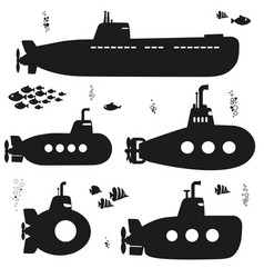 Silhouette submarine undersea boat with fishes vector