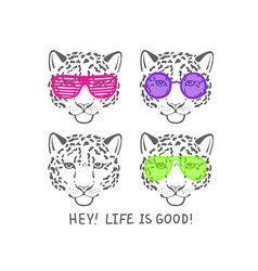 sketch head leopard in pink club glasses vector image
