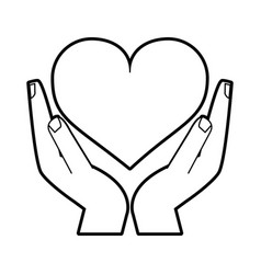 sketch silhouette image hands holding a heart vector image