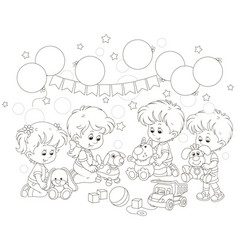 small children playing funny soft toys vector image
