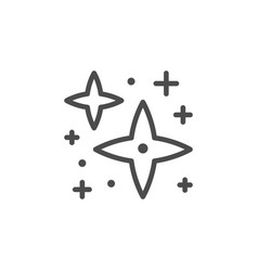 Sparkling and twinkling line outline icon vector
