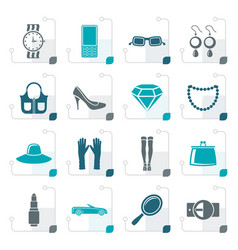 Stylized woman and female accessories icons vector