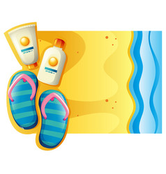 Summer scene with sunscreen and sandals on the vector
