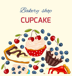 Sweet dessert greeting card template vector