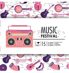 Tape recorder equipment to music festival vector