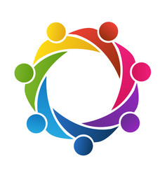 Teamwork people together community logo vector