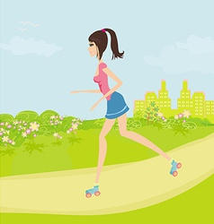 teen girl having fun on roller skates in the park vector image