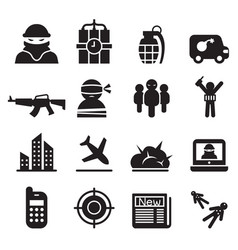 Terrorism assassin killer icons set vector