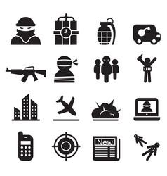 terrorism assassin killer icons set vector image
