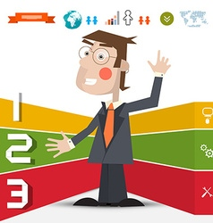 Three Steps Infographic Layout with Business Man vector