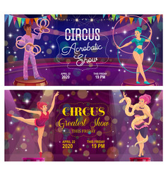 top tent circus acrobatic show flyers vector image