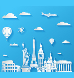 travel famous monuments background vector image