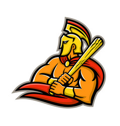 Trojan warrior baseball player mascot vector