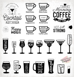 Typographic drink icon set vector
