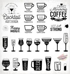 Typographic drink icon set vector