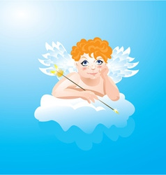 Valentines Day card with funny angel vector